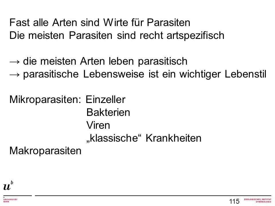 115 Fast alle Arten sind Wirte für Parasiten Die meisten Parasiten sind recht artspezifisch die meisten Arten leben parasitisch parasitische Lebensweise ist ein wichtiger Lebenstil Mikroparasiten: Einzeller Bakterien Viren klassische Krankheiten Makroparasiten