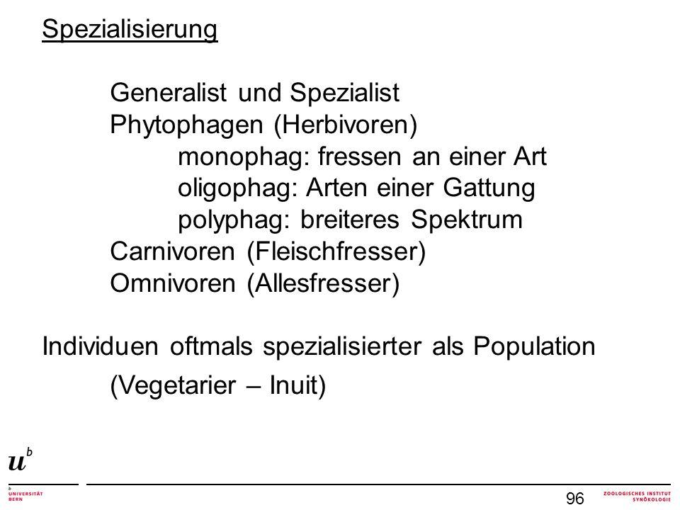 97 Individuen spezialisiert, Population = Generalist