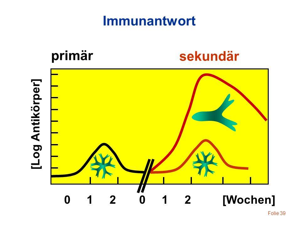 Folie 39 primär sekundär [Wochen]0 1 2 [Log Antikörper] Immunantwort