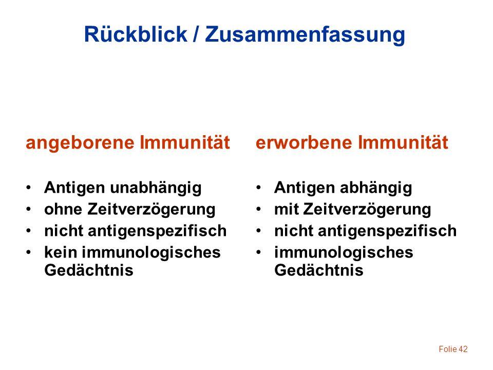 Folie 42 Rückblick / Zusammenfassung angeborene Immunität Antigen unabhängig ohne Zeitverzögerung nicht antigenspezifisch kein immunologisches Gedächt