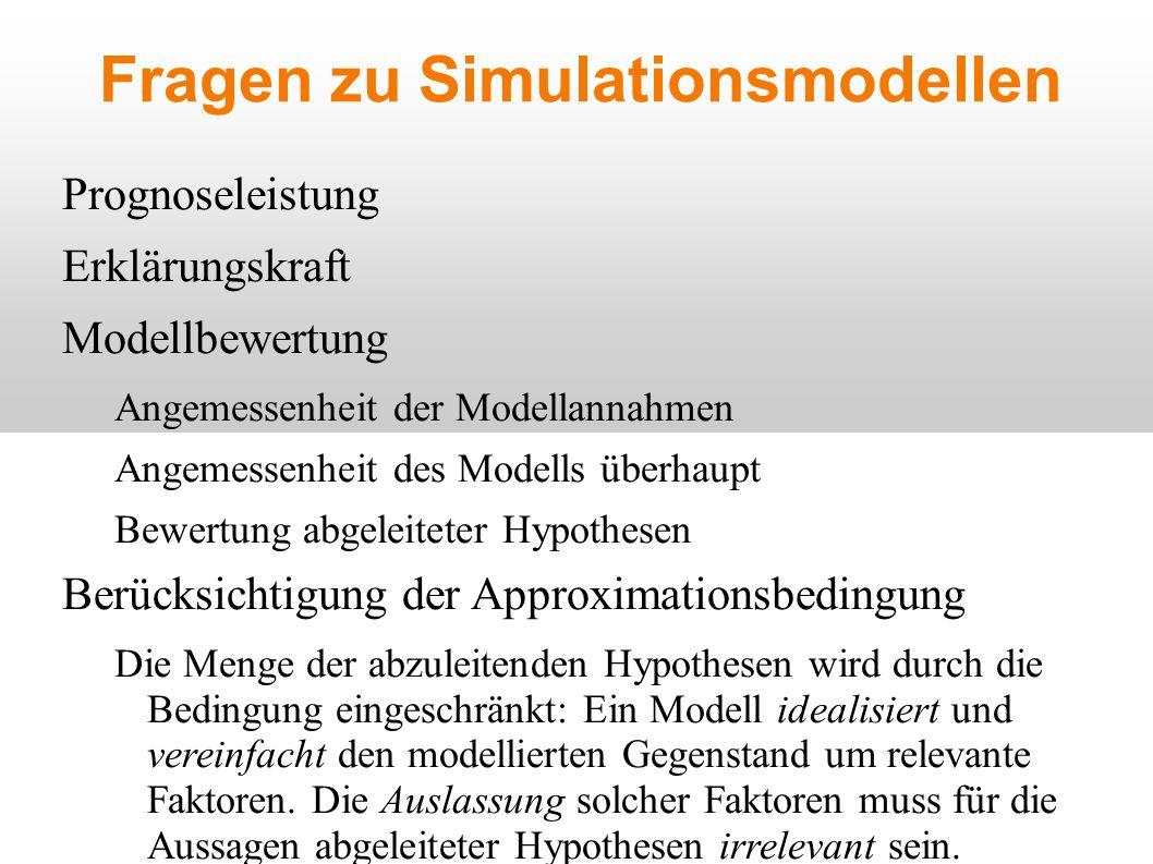 Fragen zu Simulationsmodellen Prognoseleistung Erklärungskraft Modellbewertung Angemessenheit der Modellannahmen Angemessenheit des Modells überhaupt Bewertung abgeleiteter Hypothesen Berücksichtigung der Approximationsbedingung Die Menge der abzuleitenden Hypothesen wird durch die Bedingung eingeschränkt: Ein Modell idealisiert und vereinfacht den modellierten Gegenstand um relevante Faktoren.