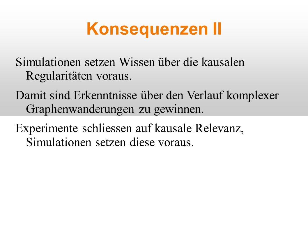 Konsequenzen II Simulationen setzen Wissen über die kausalen Regularitäten voraus.