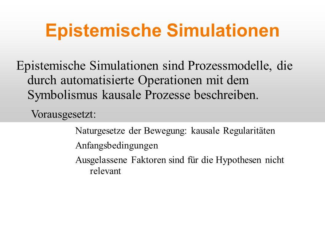 Epistemische Simulationen Epistemische Simulationen sind Prozessmodelle, die durch automatisierte Operationen mit dem Symbolismus kausale Prozesse beschreiben.