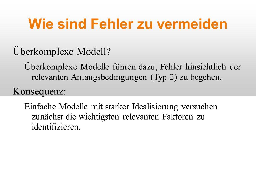 Wie sind Fehler zu vermeiden Überkomplexe Modell.