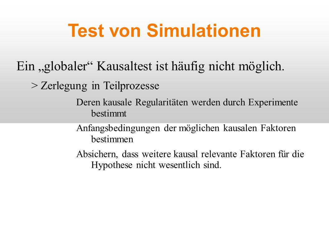 Test von Simulationen Ein globaler Kausaltest ist häufig nicht möglich.