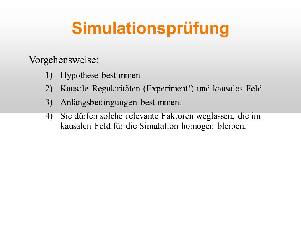 Simulationsprüfung Vorgehensweise: 1)Hypothese bestimmen 2)Kausale Regularitäten (Experiment!) und kausales Feld 3)Anfangsbedingungen bestimmen.