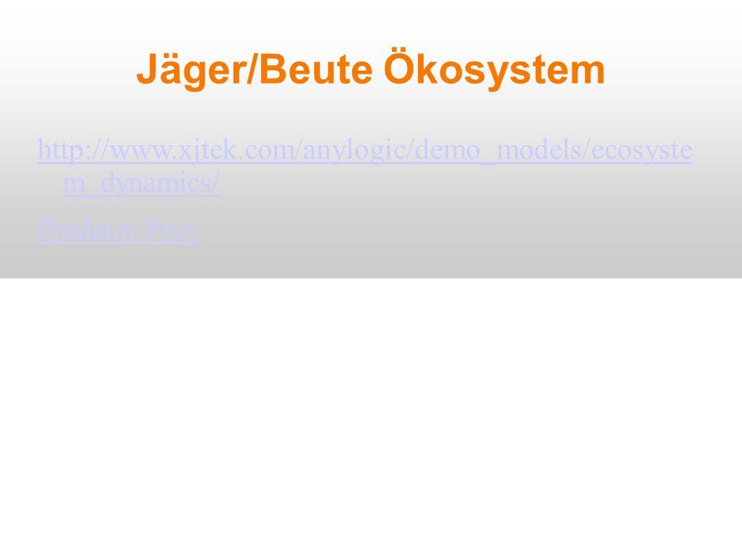 Jäger/Beute Ökosystem http://www.xjtek.com/anylogic/demo_models/ecosyste m_dynamics/ Predator Prey