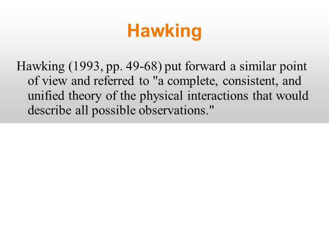 Hawking Hawking (1993, pp.