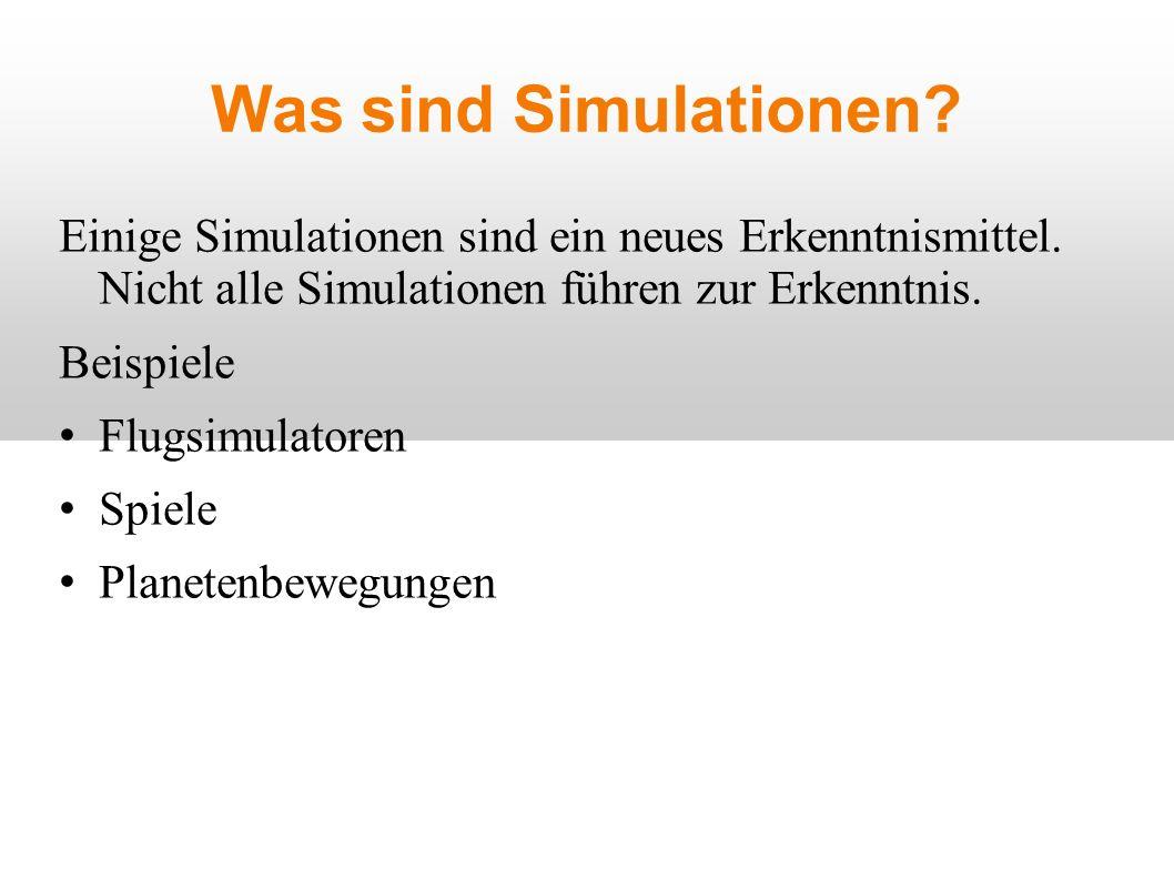 Was sind Simulationen. Einige Simulationen sind ein neues Erkenntnismittel.