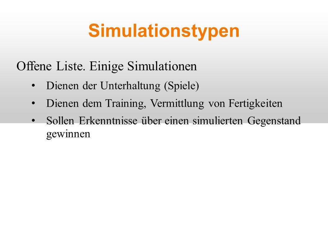 Simulationstypen Offene Liste.