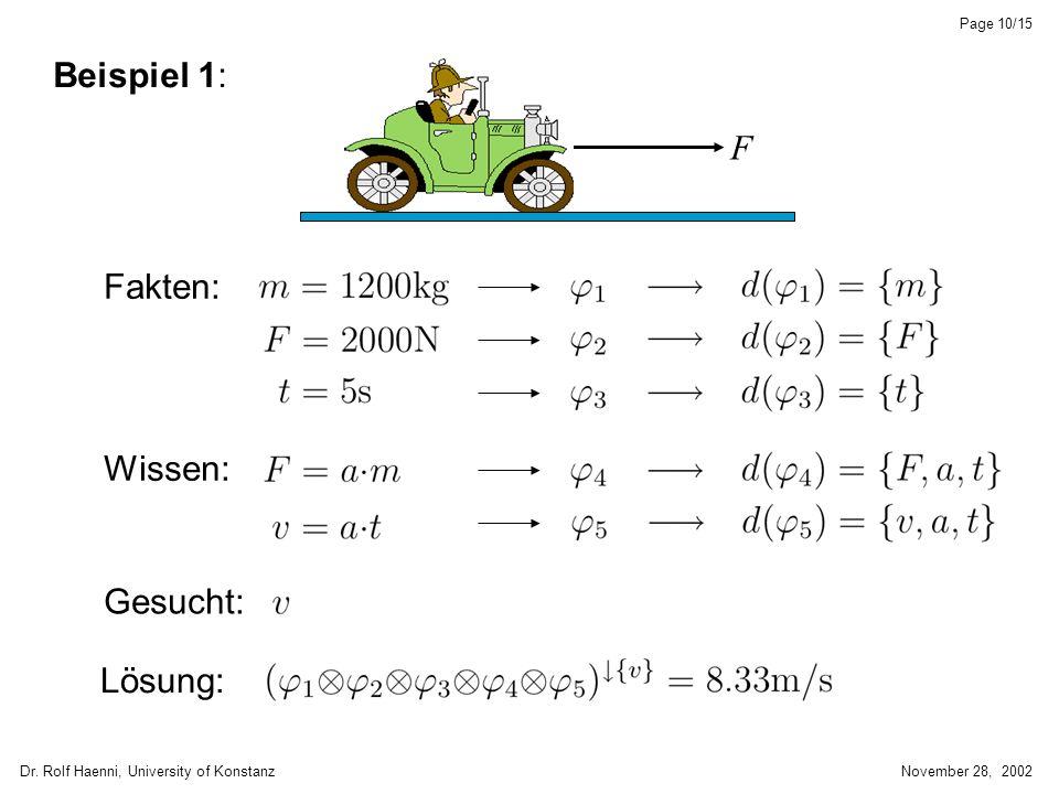 Dr. Rolf Haenni, University of KonstanzNovember 28, 2002 Page 10/15 Beispiel 1: Fakten: F Wissen: Gesucht: Lösung: