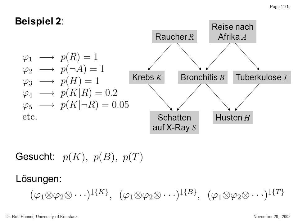 Dr. Rolf Haenni, University of KonstanzNovember 28, 2002 Page 11/15 Beispiel 2: Gesucht: Lösungen: Raucher R Reise nach Afrika A Tuberkulose T Bronchi