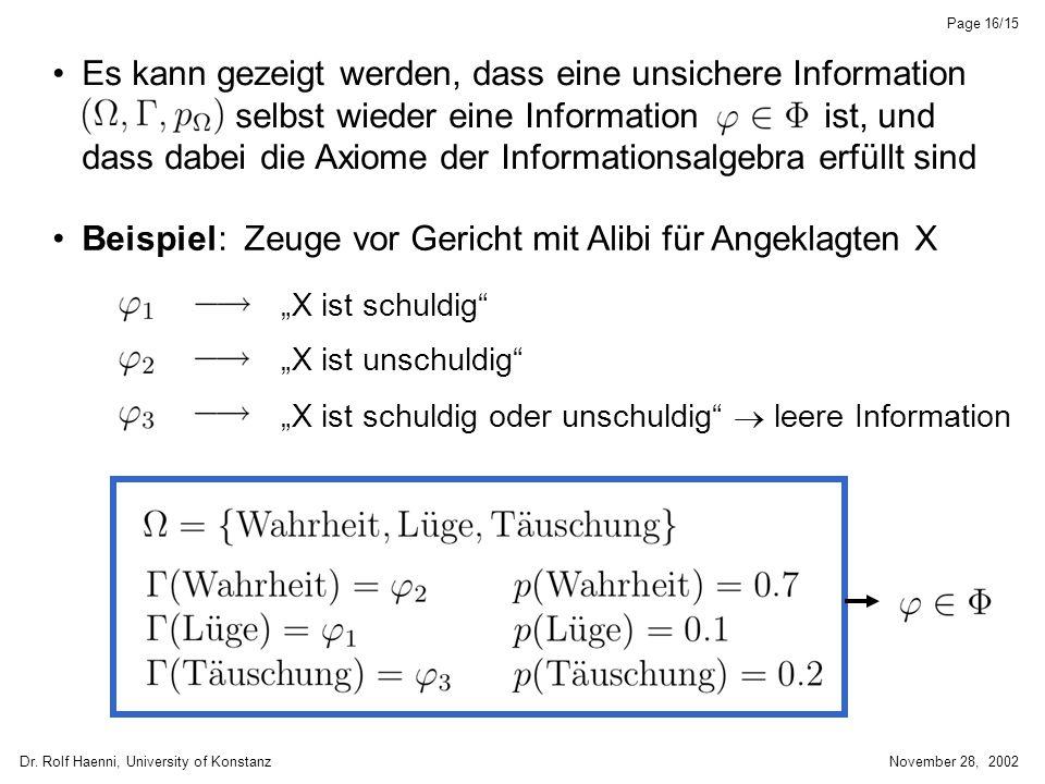 Dr. Rolf Haenni, University of KonstanzNovember 28, 2002 Page 16/15 Es kann gezeigt werden, dass eine unsichere Information selbst wieder eine Informa