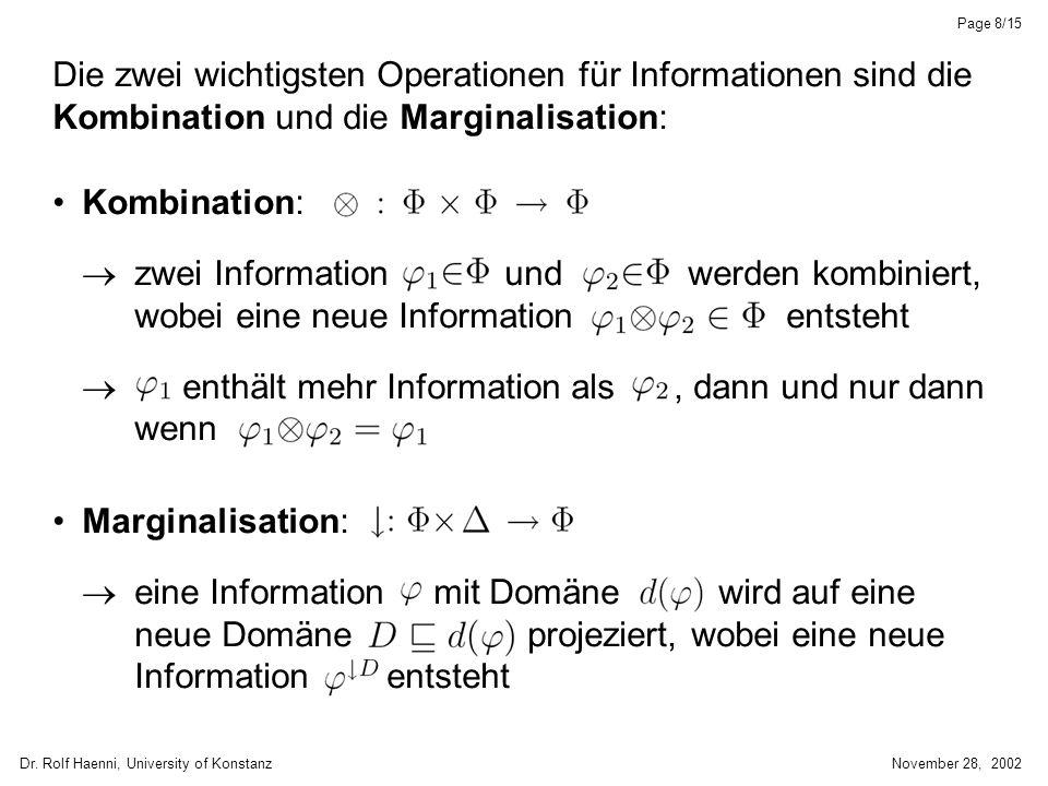 Dr. Rolf Haenni, University of KonstanzNovember 28, 2002 Page 8/15 Die zwei wichtigsten Operationen für Informationen sind die Kombination und die Mar