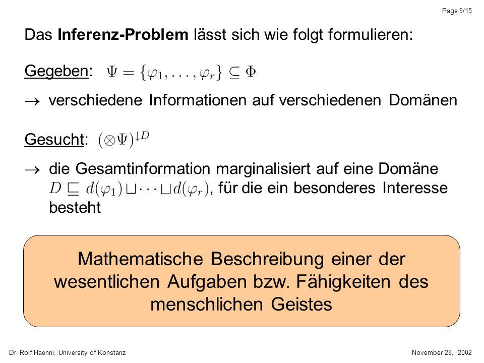 Dr. Rolf Haenni, University of KonstanzNovember 28, 2002 Page 9/15 Das Inferenz-Problem lässt sich wie folgt formulieren: Gegeben: verschiedene Inform