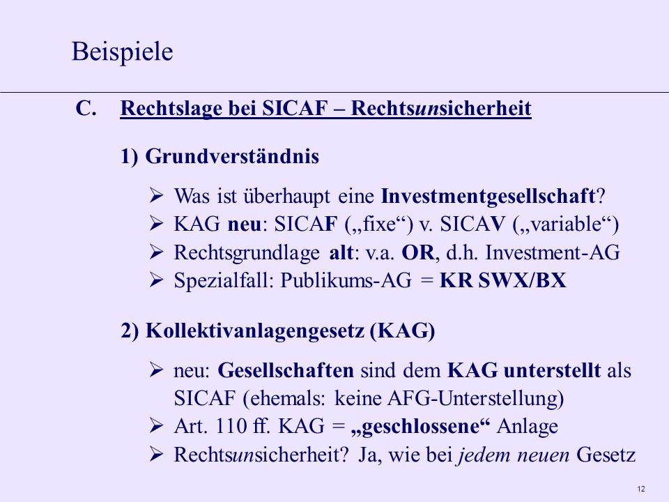 12 C.Rechtslage bei SICAF – Rechtsunsicherheit 1)Grundverständnis Was ist überhaupt eine Investmentgesellschaft.