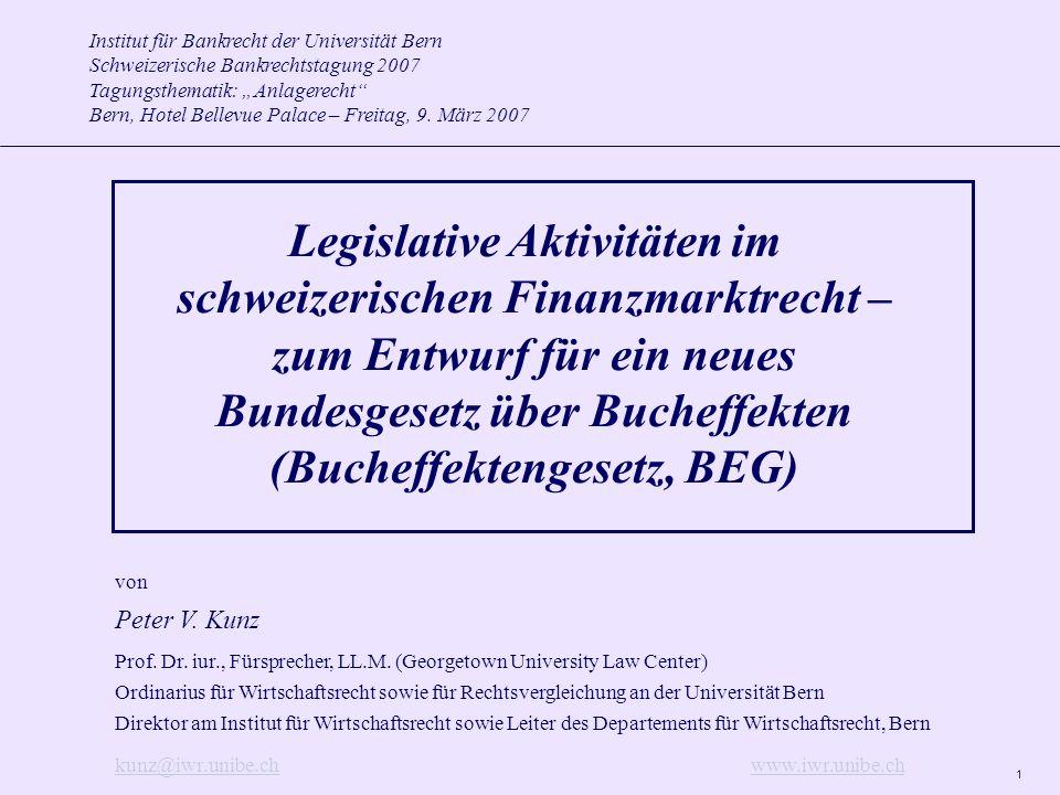 1 Institut für Bankrecht der Universität Bern Schweizerische Bankrechtstagung 2007 Tagungsthematik: Anlagerecht Bern, Hotel Bellevue Palace – Freitag, 9.
