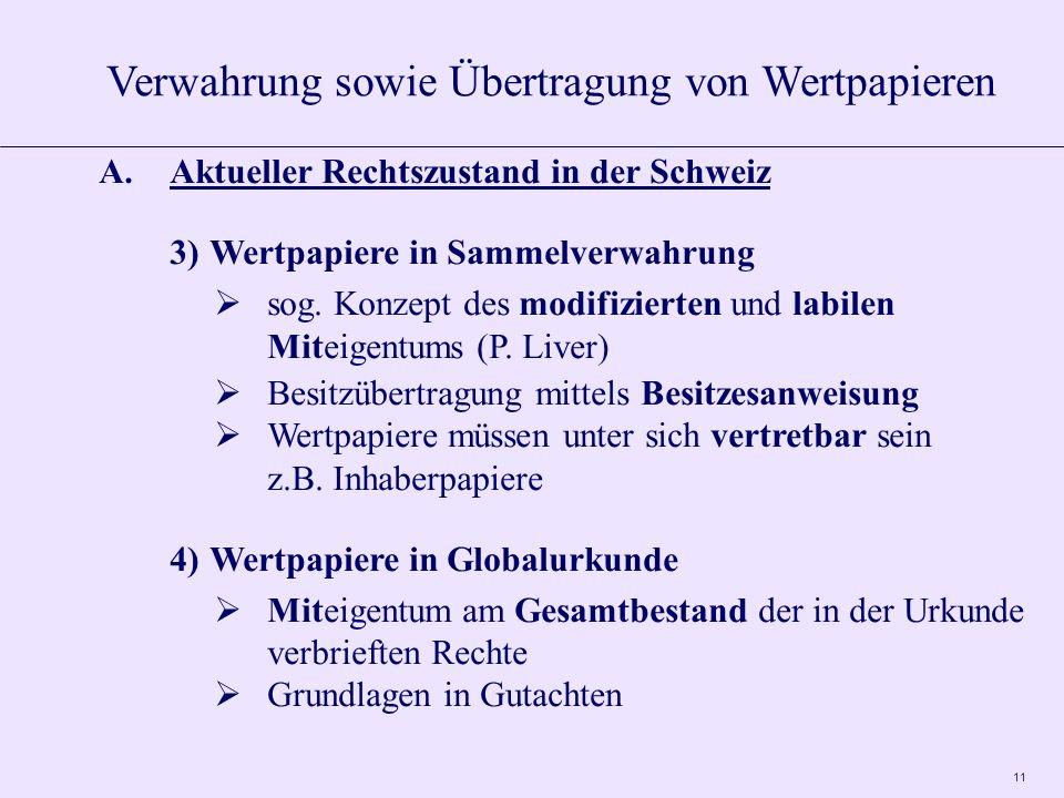 11 A.Aktueller Rechtszustand in der Schweiz 3)Wertpapiere in Sammelverwahrung sog. Konzept des modifizierten und labilen Miteigentums (P. Liver) Besit