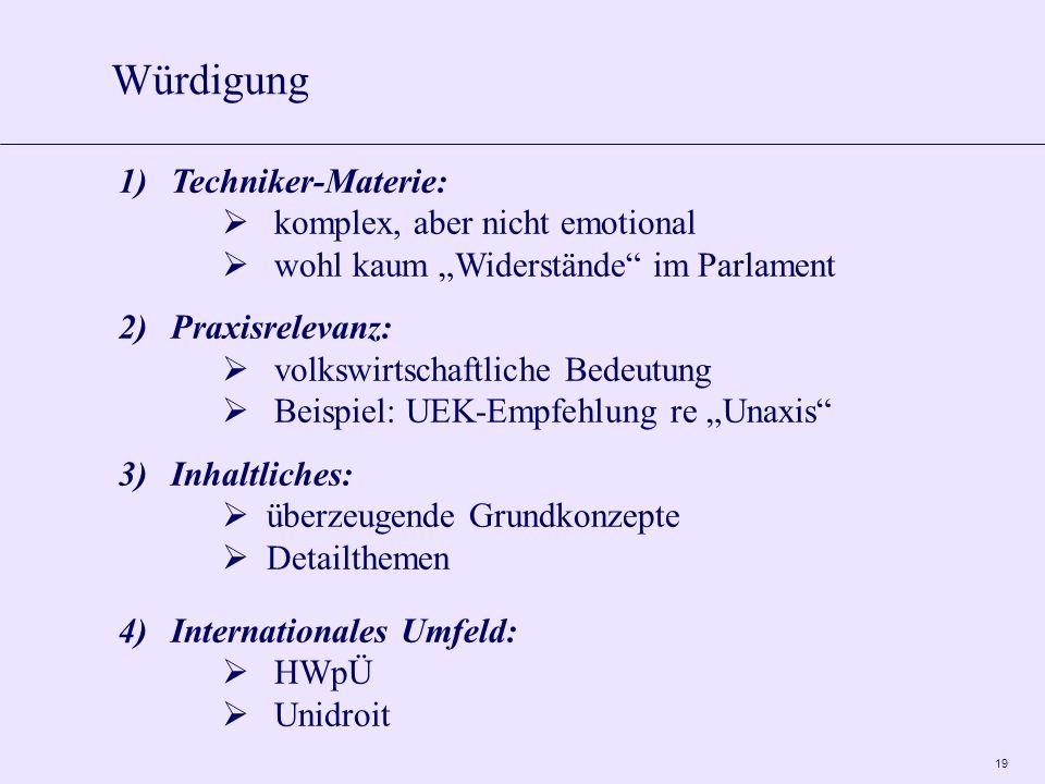 19 Würdigung 1)Techniker-Materie: komplex, aber nicht emotional wohl kaum Widerstände im Parlament 2)Praxisrelevanz: volkswirtschaftliche Bedeutung Be