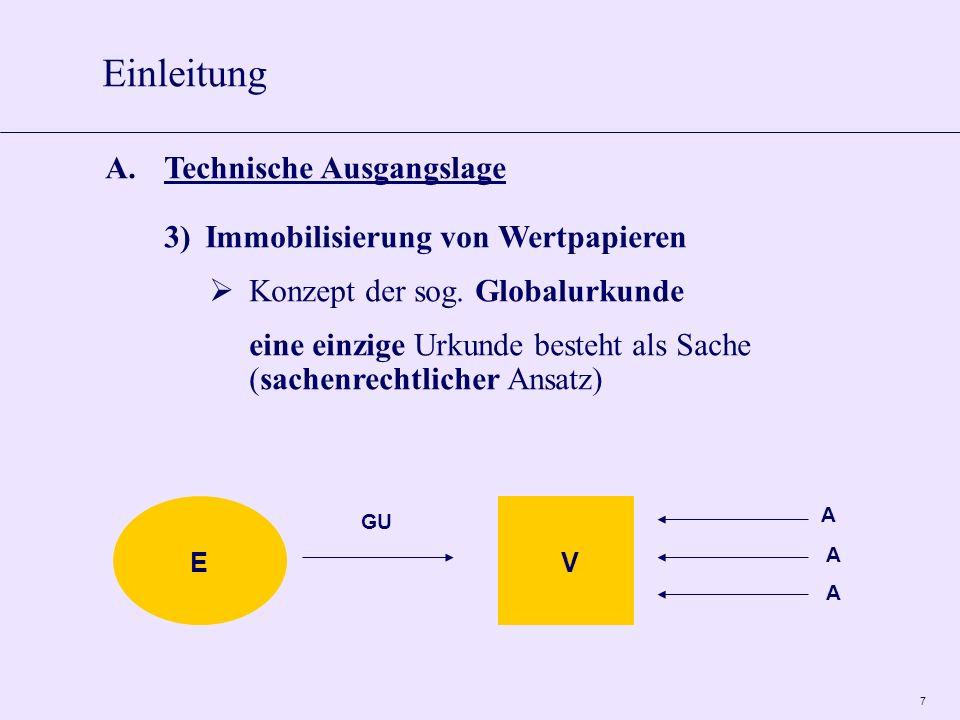 7 A.Technische Ausgangslage 3)Immobilisierung von Wertpapieren Konzept der sog. Globalurkunde eine einzige Urkunde besteht als Sache (sachenrechtliche