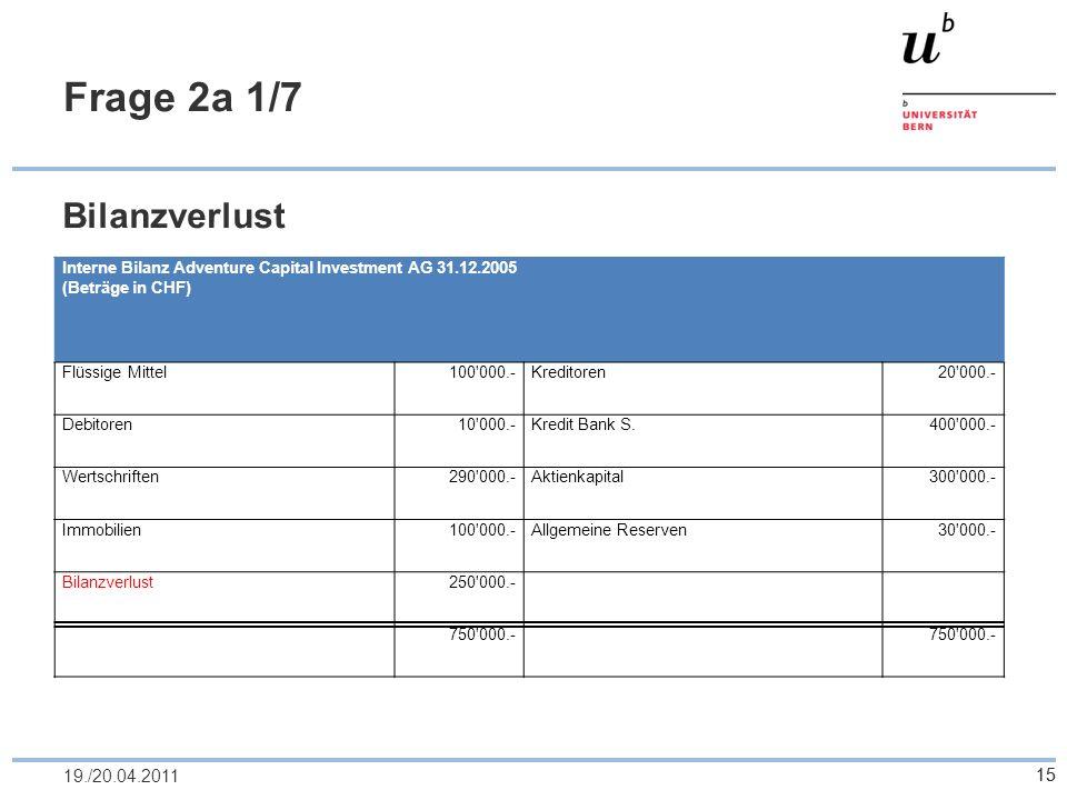 15 Frage 2a 1/7 Bilanzverlust 1519./20.04.2011 Interne Bilanz Adventure Capital Investment AG 31.12.2005 (Beträge in CHF) Flüssige Mittel100'000.-Kred