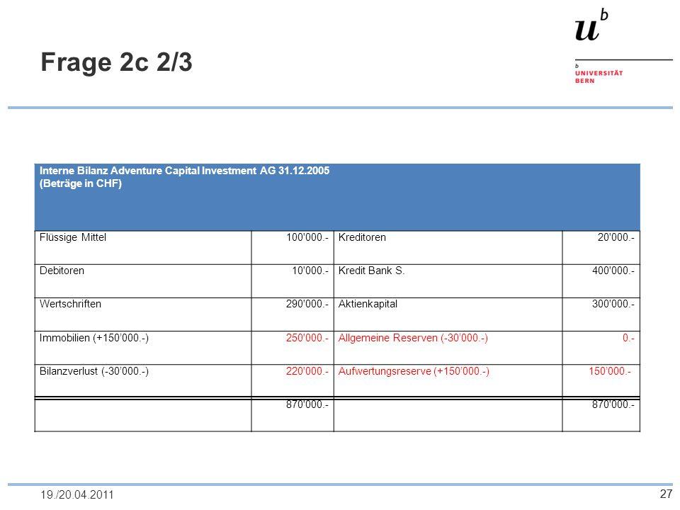 27 Frage 2c 2/3 2719./20.04.2011 Interne Bilanz Adventure Capital Investment AG 31.12.2005 (Beträge in CHF) Flüssige Mittel100'000.-Kreditoren20'000.-