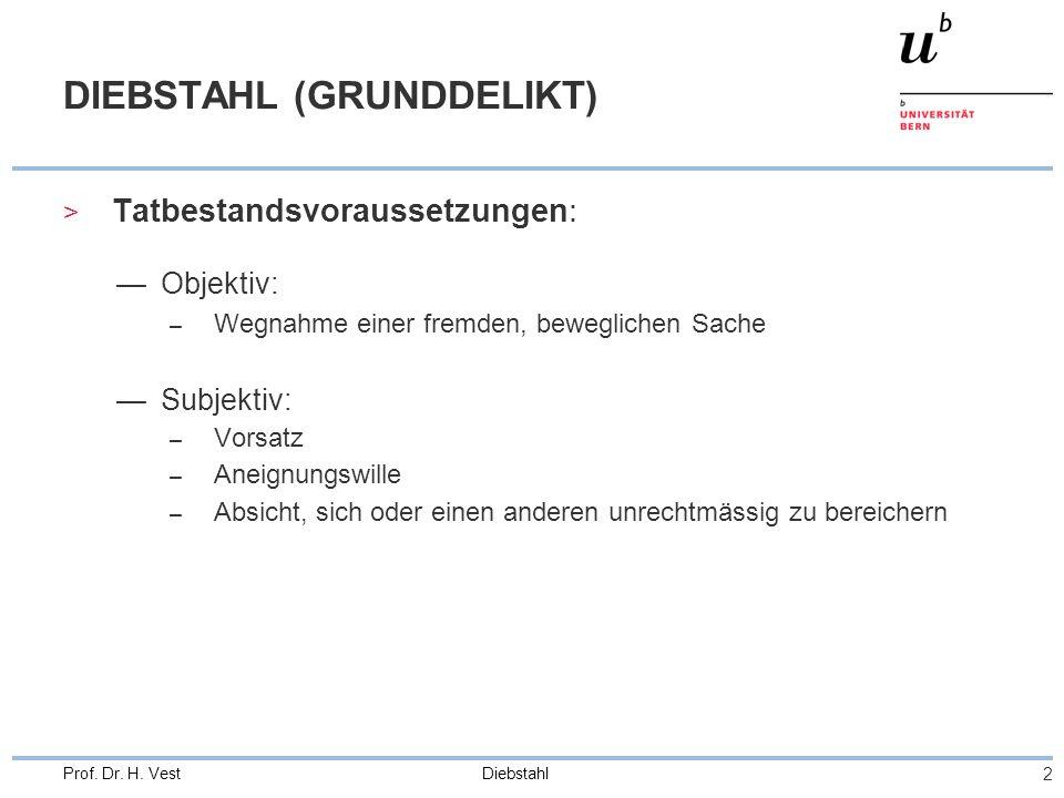Diebstahl 3 Prof. Dr. H. Vest OBJ. TB - TATOBJEKT > Fremde, bewegliche Sache vgl. Aneignungsdelikte