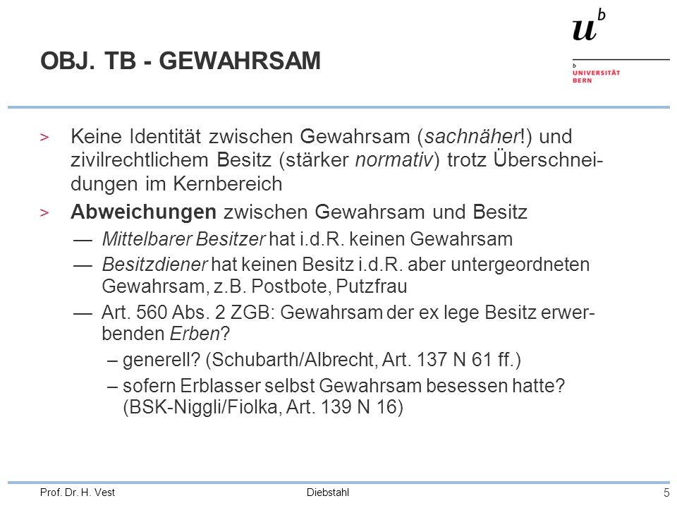 Diebstahl 16 Prof.Dr. H. Vest MITGLIED EINER BANDE (Ziff.