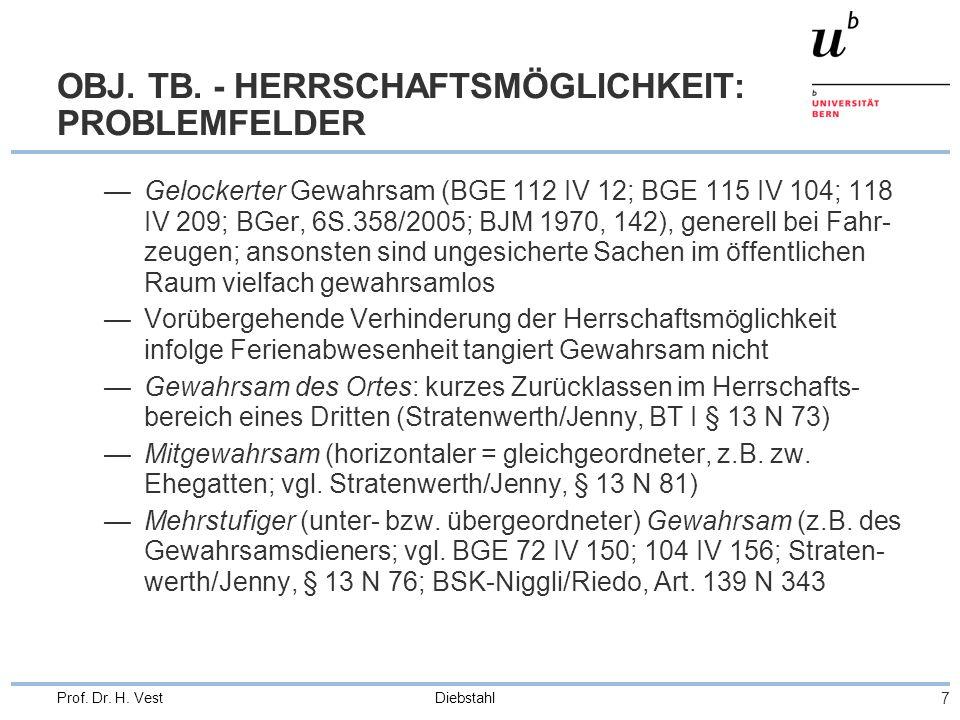 Diebstahl 18 Prof.Dr. H. Vest GENERALKLAUSEL SONSTWIE BESON- DERS GEFÄHRLICH (Ziff.