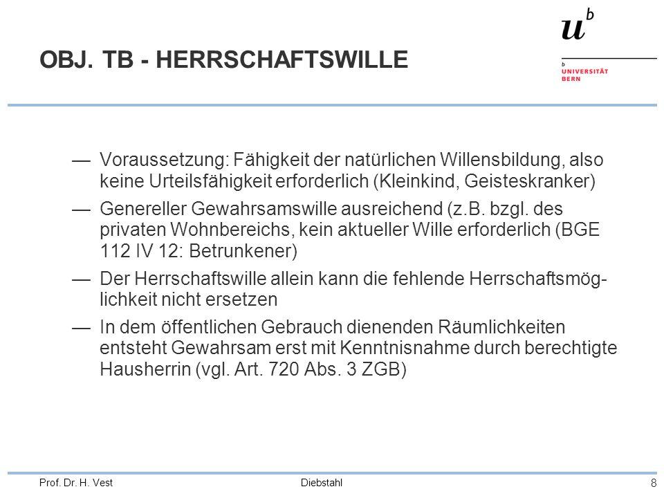Diebstahl 9 Prof.Dr. H. Vest OBJ. TB.