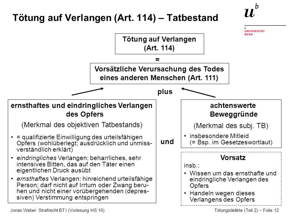 Jonas Weber: Strafrecht BT I (Vorlesung HS 10) Tötungsdelikte (Teil 2) Folie 12 Tötung auf Verlangen (Art.