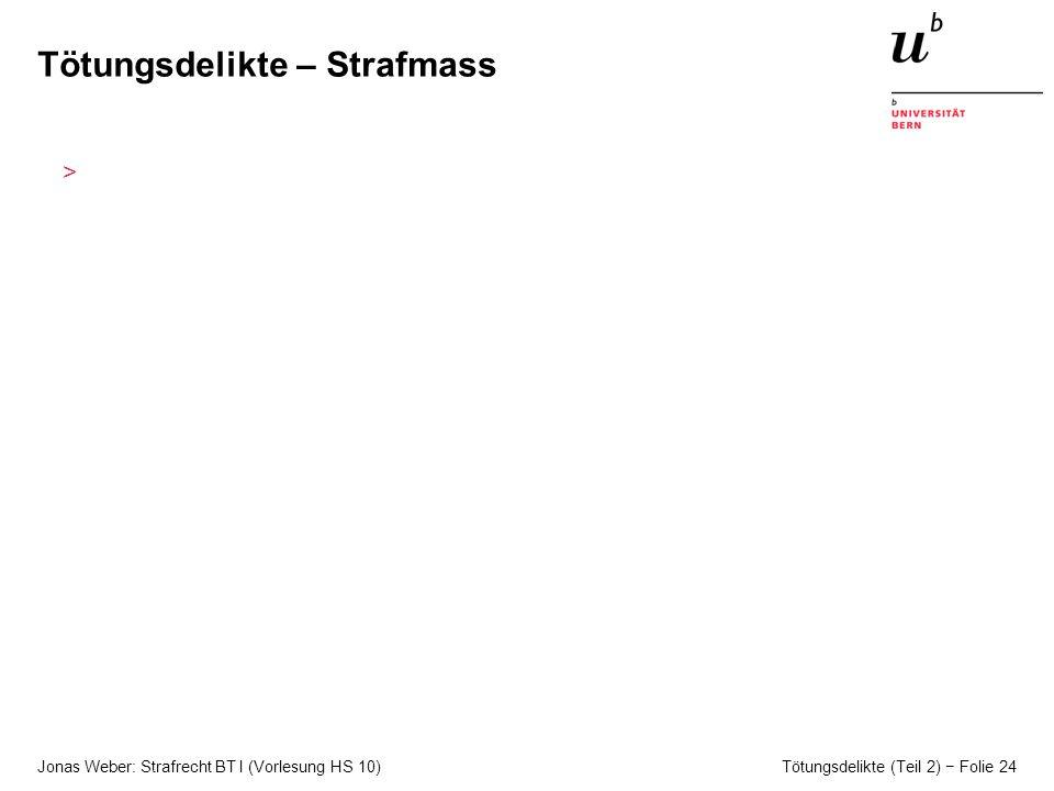 Jonas Weber: Strafrecht BT I (Vorlesung HS 10) Tötungsdelikte (Teil 2) Folie 24 Tötungsdelikte – Strafmass >