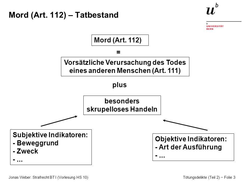 Jonas Weber: Strafrecht BT I (Vorlesung HS 10) Tötungsdelikte (Teil 2) Folie 3 Mord (Art.