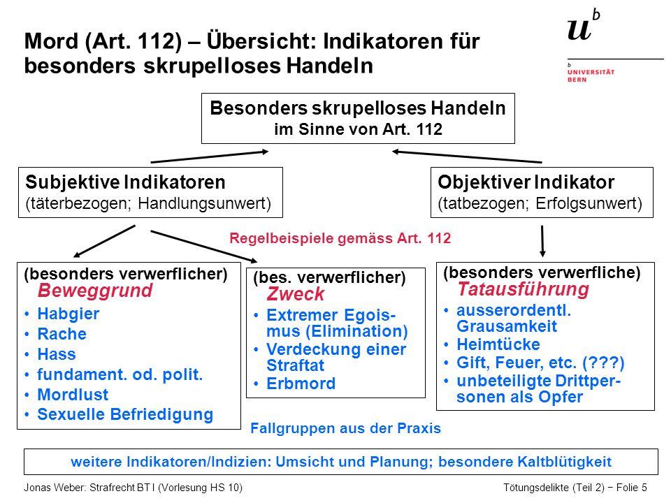 Jonas Weber: Strafrecht BT I (Vorlesung HS 10) Tötungsdelikte (Teil 2) Folie 5 Mord (Art.