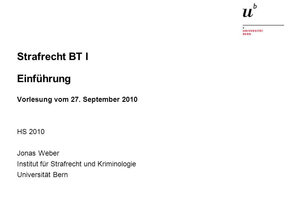 Strafrecht BT I Einführung Vorlesung vom 27.