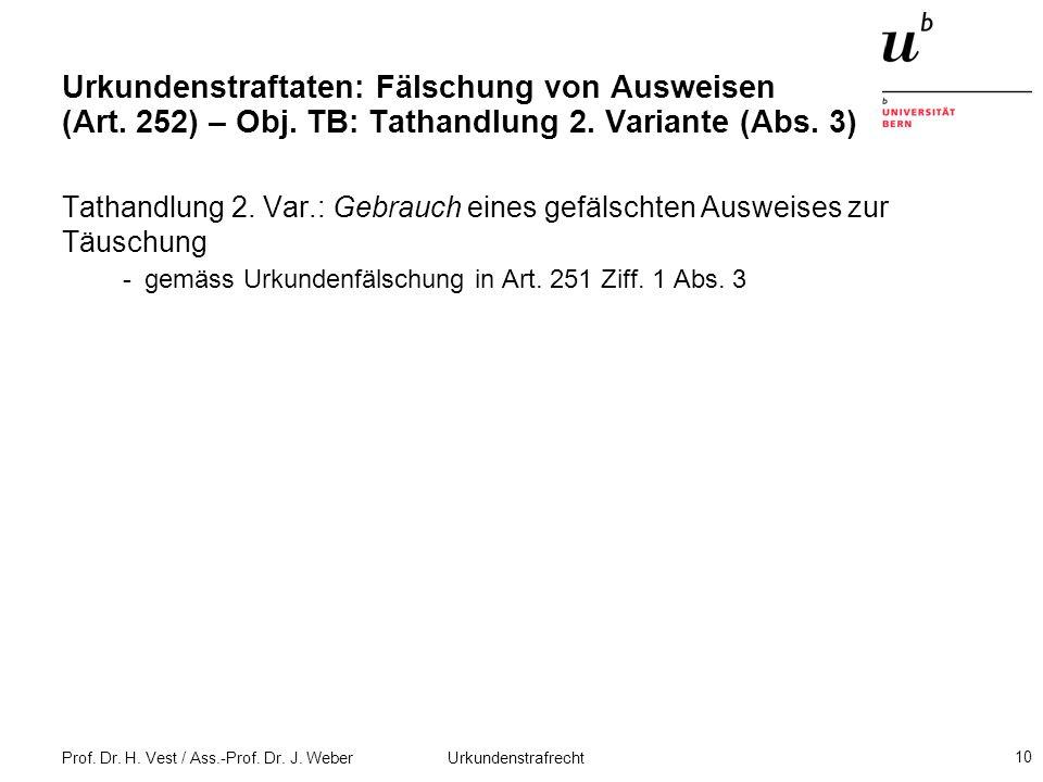 Prof. Dr. H. Vest / Ass.-Prof. Dr. J. Weber Urkundenstrafrecht 10 Urkundenstraftaten: Fälschung von Ausweisen (Art. 252) – Obj. TB: Tathandlung 2. Var