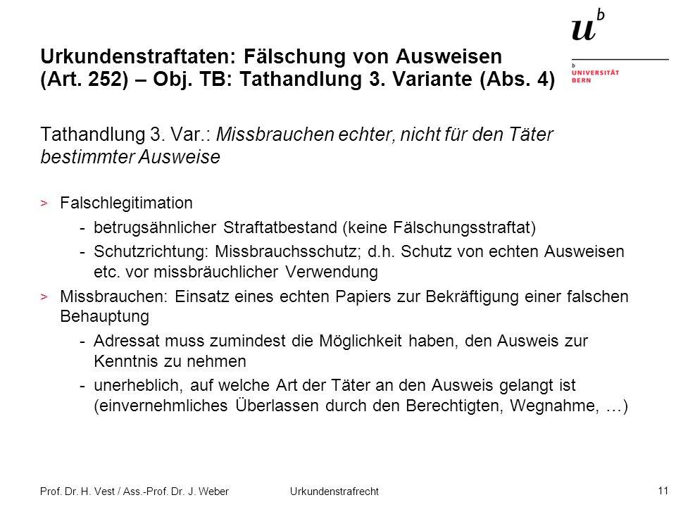 Prof. Dr. H. Vest / Ass.-Prof. Dr. J. Weber Urkundenstrafrecht 11 Urkundenstraftaten: Fälschung von Ausweisen (Art. 252) – Obj. TB: Tathandlung 3. Var