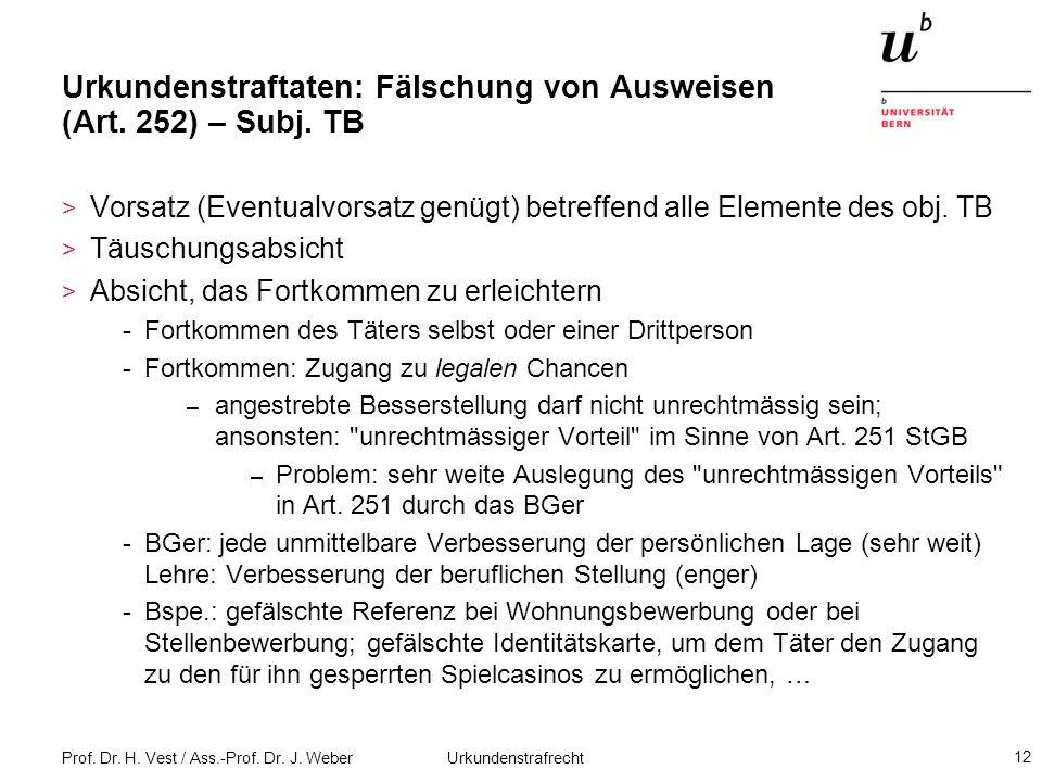 Prof. Dr. H. Vest / Ass.-Prof. Dr. J. Weber Urkundenstrafrecht 12 Urkundenstraftaten: Fälschung von Ausweisen (Art. 252) – Subj. TB > Vorsatz (Eventua