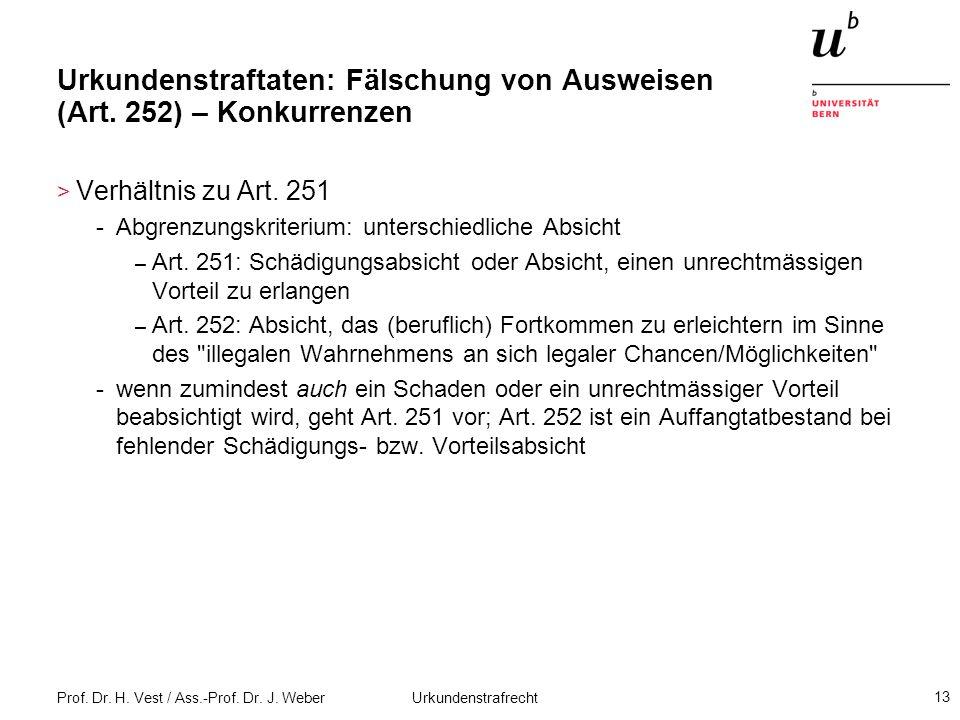 Prof. Dr. H. Vest / Ass.-Prof. Dr. J. Weber Urkundenstrafrecht 13 Urkundenstraftaten: Fälschung von Ausweisen (Art. 252) – Konkurrenzen > Verhältnis z