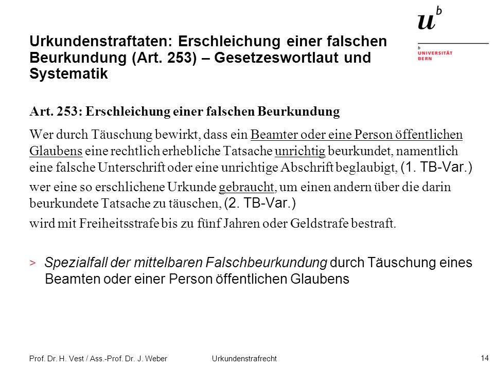 Prof. Dr. H. Vest / Ass.-Prof. Dr. J. Weber Urkundenstrafrecht 14 Urkundenstraftaten: Erschleichung einer falschen Beurkundung (Art. 253) – Gesetzeswo