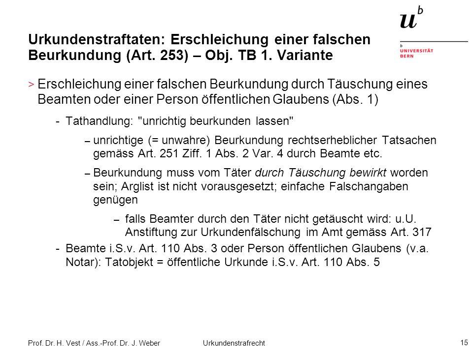 Prof. Dr. H. Vest / Ass.-Prof. Dr. J. Weber Urkundenstrafrecht 15 Urkundenstraftaten: Erschleichung einer falschen Beurkundung (Art. 253) – Obj. TB 1.