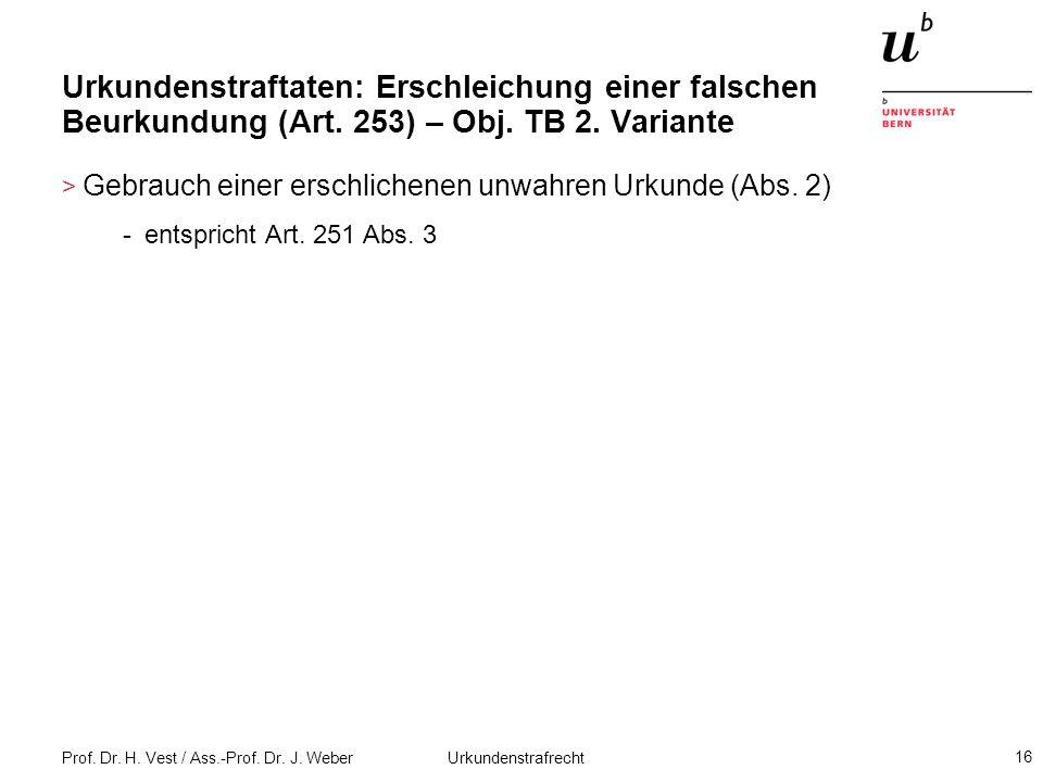 Prof. Dr. H. Vest / Ass.-Prof. Dr. J. Weber Urkundenstrafrecht 16 Urkundenstraftaten: Erschleichung einer falschen Beurkundung (Art. 253) – Obj. TB 2.