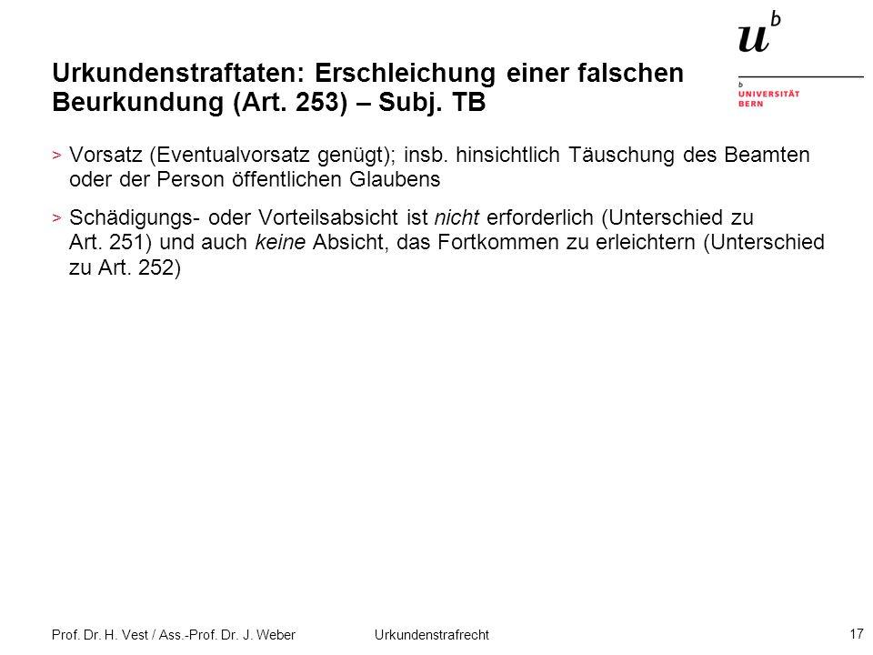 Prof. Dr. H. Vest / Ass.-Prof. Dr. J. Weber Urkundenstrafrecht 17 Urkundenstraftaten: Erschleichung einer falschen Beurkundung (Art. 253) – Subj. TB >
