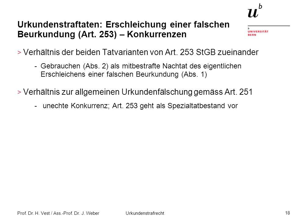 Prof. Dr. H. Vest / Ass.-Prof. Dr. J. Weber Urkundenstrafrecht 18 Urkundenstraftaten: Erschleichung einer falschen Beurkundung (Art. 253) – Konkurrenz