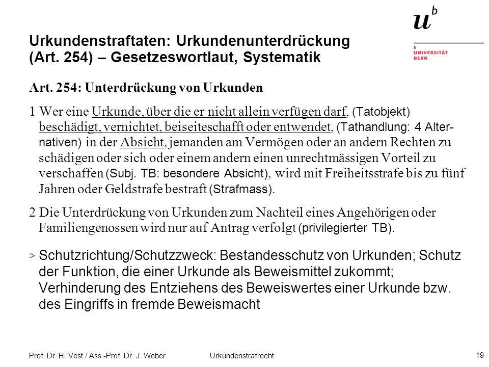 Prof. Dr. H. Vest / Ass.-Prof. Dr. J. Weber Urkundenstrafrecht 19 Urkundenstraftaten: Urkundenunterdrückung (Art. 254) – Gesetzeswortlaut, Systematik