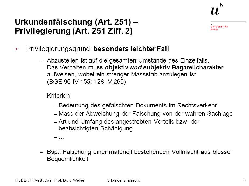Prof. Dr. H. Vest / Ass.-Prof. Dr. J. Weber Urkundenstrafrecht 2 Urkundenfälschung (Art. 251) – Privilegierung (Art. 251 Ziff. 2) > Privilegierungsgru