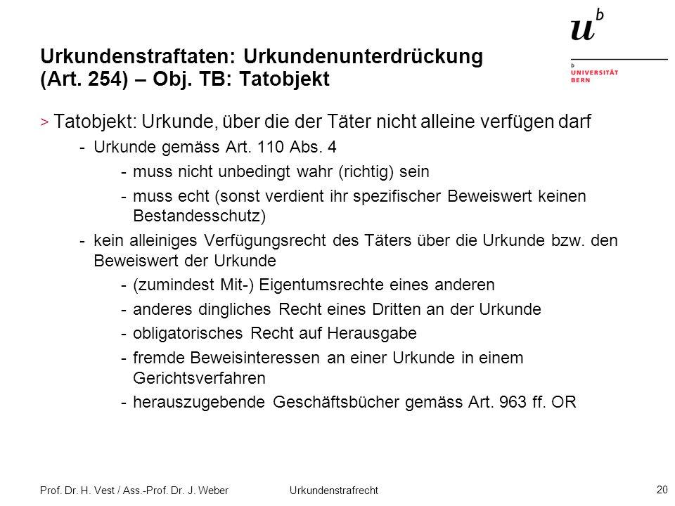 Prof. Dr. H. Vest / Ass.-Prof. Dr. J. Weber Urkundenstrafrecht 20 Urkundenstraftaten: Urkundenunterdrückung (Art. 254) – Obj. TB: Tatobjekt > Tatobjek