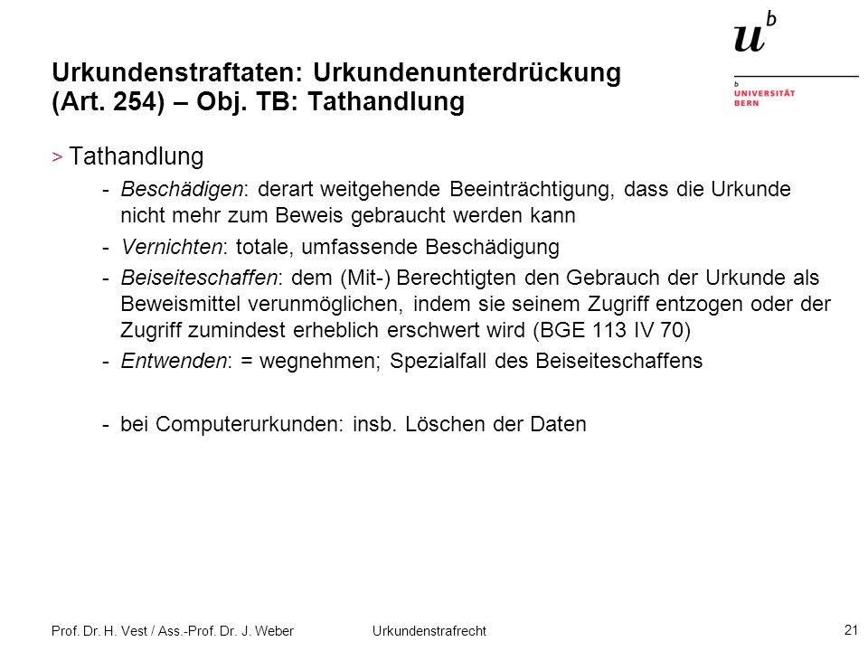 Prof. Dr. H. Vest / Ass.-Prof. Dr. J. Weber Urkundenstrafrecht 21 Urkundenstraftaten: Urkundenunterdrückung (Art. 254) – Obj. TB: Tathandlung > Tathan