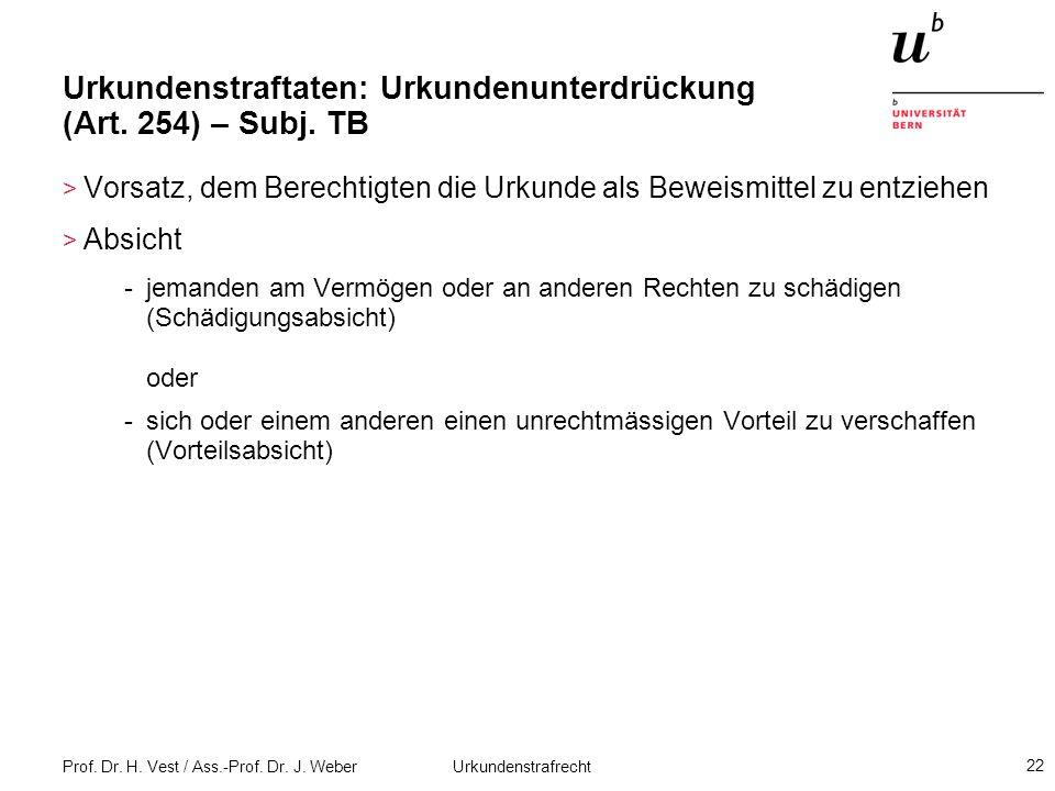 Prof. Dr. H. Vest / Ass.-Prof. Dr. J. Weber Urkundenstrafrecht 22 Urkundenstraftaten: Urkundenunterdrückung (Art. 254) – Subj. TB > Vorsatz, dem Berec
