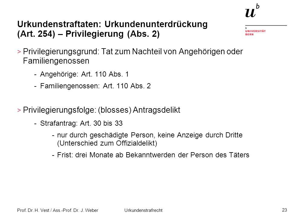 Prof. Dr. H. Vest / Ass.-Prof. Dr. J. Weber Urkundenstrafrecht 23 Urkundenstraftaten: Urkundenunterdrückung (Art. 254) – Privilegierung (Abs. 2) > Pri